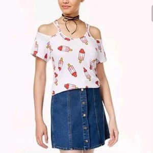 Popsicle Print Cold Shoulder Shirt Summer Tank Top